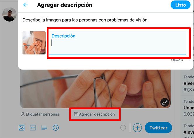Descripción en Twitter