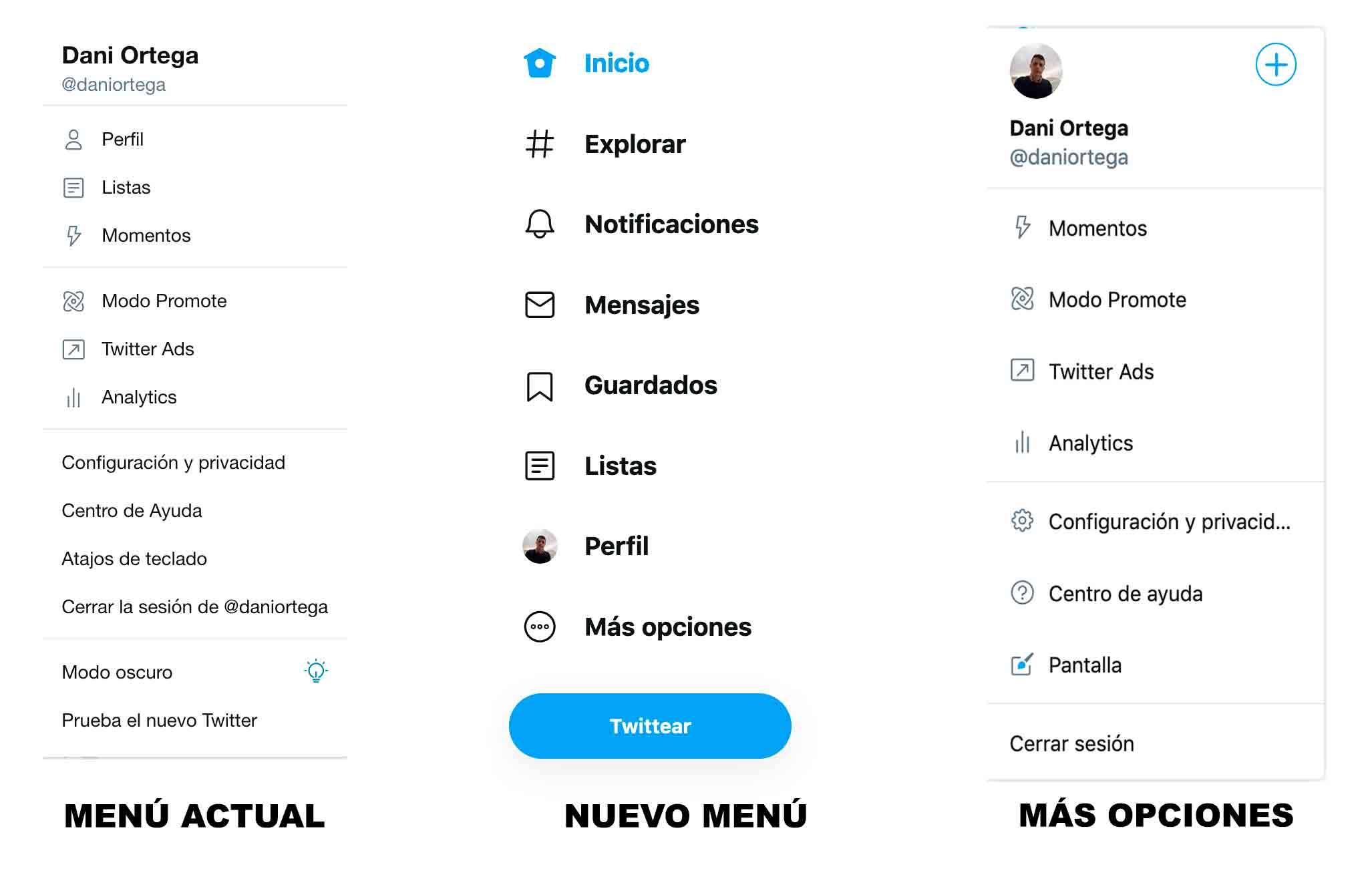 Nuevos menús de Twitter