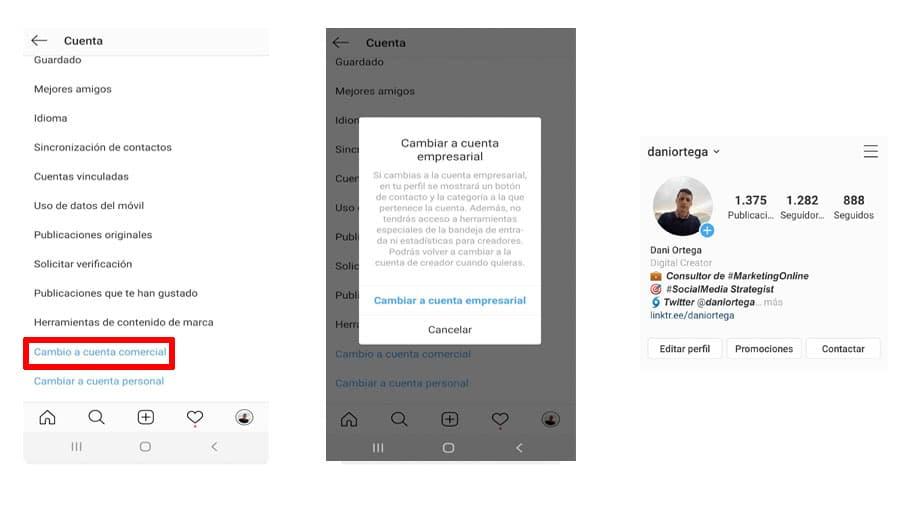 Cambia tu cuenta de Instagram al perfil de empresa