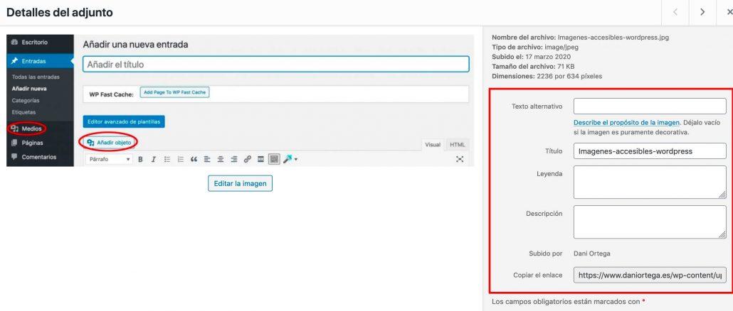 Captura de pantalla de entrada con el botón Añadir objeto y medios a la izquierda y los datos de imagen a la derecha