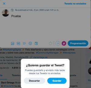 cómo guardar borradores en Twitter