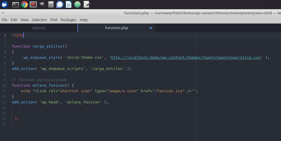 Modificar archivo Function.php